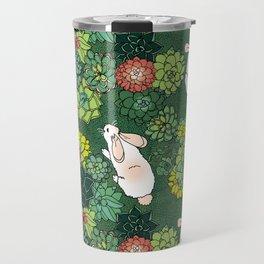 Rabbits in a Succulent Garden Travel Mug