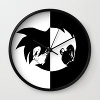 vegeta Wall Clocks featuring Goku & Vegeta SS4 Face  by Prince Of Darkness