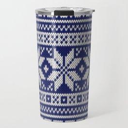 Winter knitted pattern 2 Travel Mug