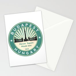 Budapest, Heroes' Square, Hosök tere, Hungary, circle, green Stationery Cards