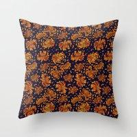 korean Throw Pillows featuring Korean Chrysanthemum - Orange by 1004kim