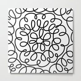 Hand drawn flower doodle circles Metal Print
