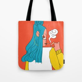Blue hair girl Tote Bag