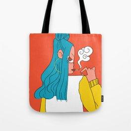 Blue hair girl Tote Bag