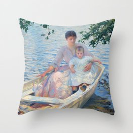 Edmund Charles Tarbell, Mother and Child in a Boat 1892 Throw Pillow