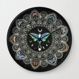 Lunar Moth Mandala with Background Wall Clock