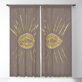 Evil Eye Gold on Brown #1 #drawing #decor #art #society6 Blackout Curtain