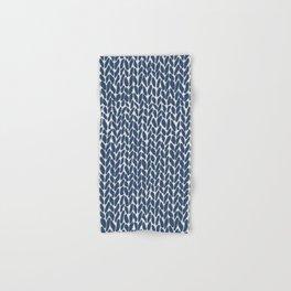 Hand Knit Navy Hand & Bath Towel