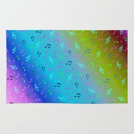 colorful blue music notes abstract, art, artistic, background, bass, beautiful, classical, clef, cre Rug