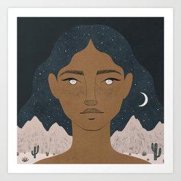 la luna, la arena Art Print