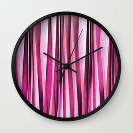 Rose Wine and Burgundy Stripy Lines Pattern Wall Clock