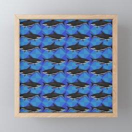Sharks On Blue Tile Framed Mini Art Print