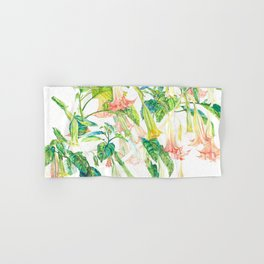 Brugmansia Delicate Floral Watercolor Trumpet Flower Painting Hand & Bath Towel