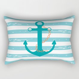 AFE Nautical Teal Ship Anchor Rectangular Pillow