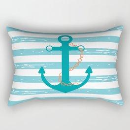 AFE Nautical Teal Ship Anchor Rectangular Pillow