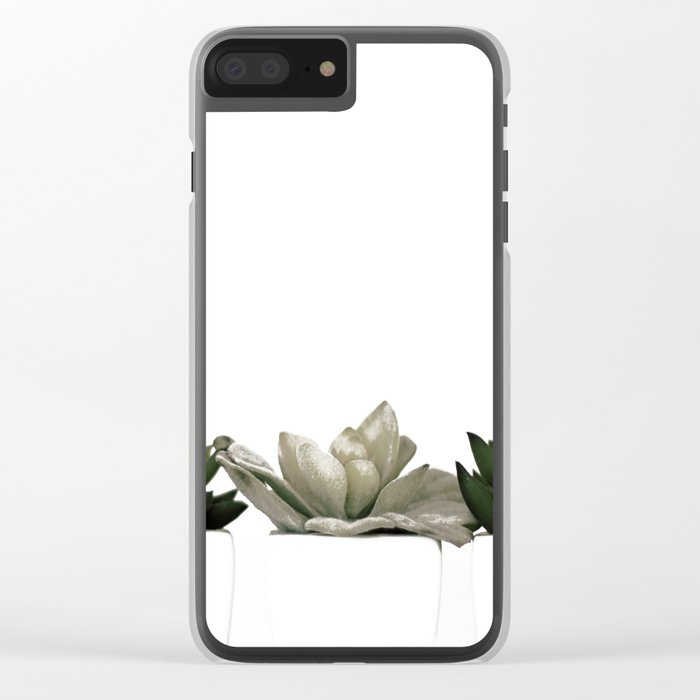 Lovely green cactus - cacti in white pots on a white background Clear iPhone Case