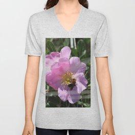 Bee on a Wild Prairie Rose Unisex V-Neck