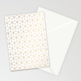 Gold Geometric Pattern on White Background Stationery Cards