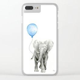Baby Animal Elephant Watercolor Blue Balloon Baby Boy Nursery Room Decor Clear iPhone Case