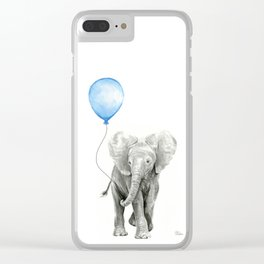 Baby Animal Elephant Watercolor Blue Balloon Baby Boy Nursery Room Decor Clear iPhone Case
