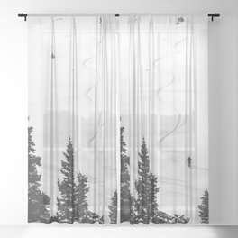 Backcountry Skier // Fresh Powder Snow Mountain Ski Landscape Black and White Photography Vibes Sheer Curtain