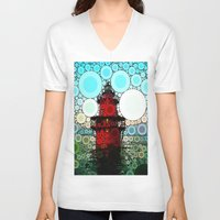 lighthouse V-neck T-shirts featuring Lighthouse by Thephotomomma