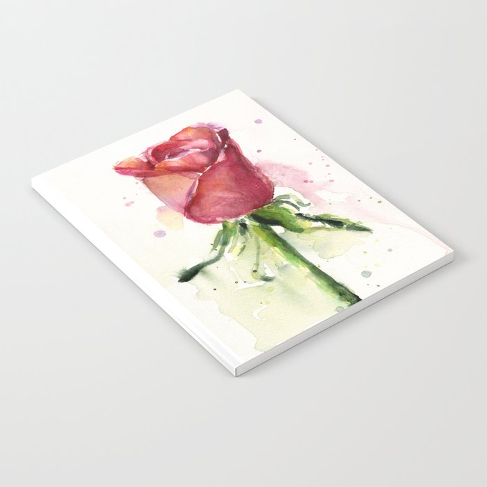 Rose Watercolor Red Flower Painting Floral Flowers Notebook