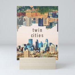 Twin Cities | Minneapolis and Saint Paul Minnesota Skylines | City Collage Mini Art Print