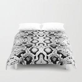Snake skin texture. black white. simple ornamen Duvet Cover