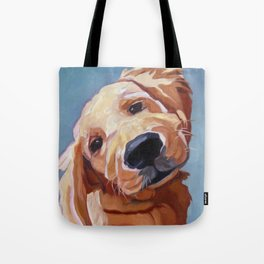 Golden Retriever Puppy Original Oil Painting Tote Bag