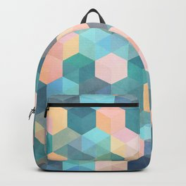 Child's Play 2 - hexagon pattern in soft blue, pink, peach & aqua Backpack