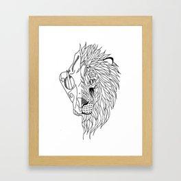 half lion skull, half lion face  Framed Art Print