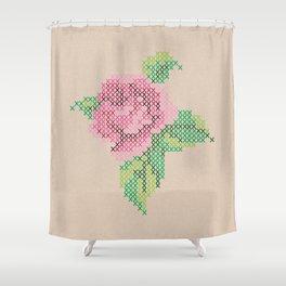 Rose cross stitch Shower Curtain