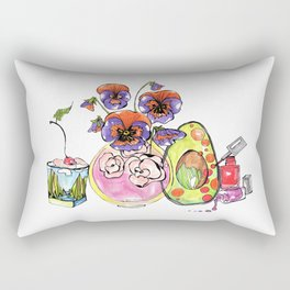 Avocado, Pansy and Valentino Rectangular Pillow