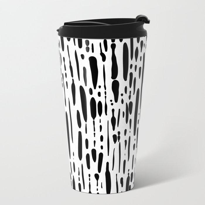 Ice Melt Black and White Metal Travel Mug