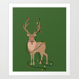Rudolph Red Nosed Reindeer happy with his Favorite Christmas Lights Art Print