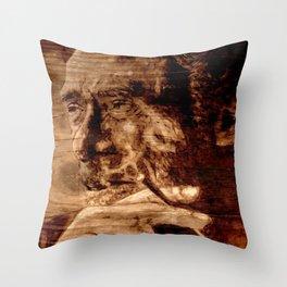 Charles Bukowski - wood - quote Throw Pillow