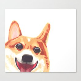 Peek-a-Boo Corgi Canvas Print