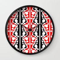 maori Wall Clocks featuring  Maori Kowhaiwhai Traditional Pattern  by mailboxdisco