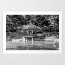 The aeryeonjeong in the Aeryeonji Pond of the secret garden - Changdeokgung Palace Art Print