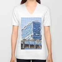 buildings V-neck T-shirts featuring Twisted Buildings by davehare