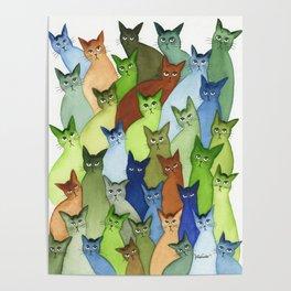 Oklahoma City Many Whimsical Cats Poster