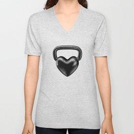 Kettlebell heart / 3D render of heavy heart shaped kettlebell Unisex V-Neck
