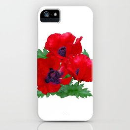 Red oriental poppies iPhone Case