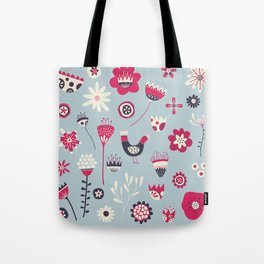 Scandi Birds and Flowers Blue Tote Bag