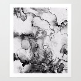 Black and grey Ink spill Art Print