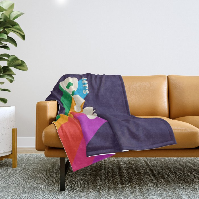 RAINBOW DANCE TYPOGRAPHY- let's dance Throw Blanket