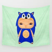 sonic Wall Tapestries featuring A Boy - Sonic the Hedgehog by Christophe Chiozzi