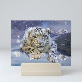 Snow Leopard and Moon Mini Art Print
