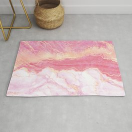 Elegant pink coral gold glitter abstract marble Rug